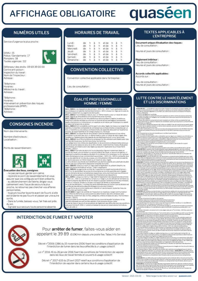 Affichage obligatoire version à jour des modifications de février 2021